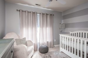 Big-Window-plus-Amusing-Curtain-beside-Silver-Baby-Nursery-Floor-Lamps-closed-White-Crib-and-Interesting-Carpet-Motive-front-Elegant-Armchair-beside-Grey-Storage