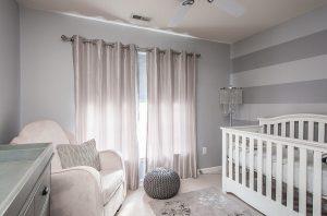 Big-Window-plus-Amusing-Curtain-beside-Silver-Baby-Nursery-Floor-Lamps-closed-White-Crib-and-Interesting-Carpet-Motive-front-Elegant-Armchair-beside-Grey-Storage